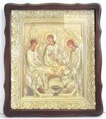 Троица. Храмовая икона в фигурном киоте, в ризе, с багетом, 38 Х 44