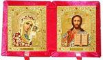 Складень бархат (Б-21-3-КЦО) цвет красный, средний, цветное одеяния, лик 15Х18