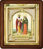 Киприан и Устинья, малая аналойная икона, риза (Д-3с-35)