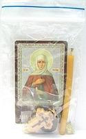 Анна Пророчица. Святая. Набор для домашней молитвы (Zip-Lock). Лик, молитва, свечка, ладан, крестик