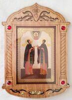 Петр и Феврония (рост). Икона настольная, резная, фигурная, JERUSALEM