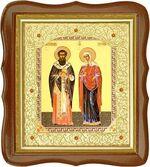 Киприан и Устинья, средняя аналойная икона, фигурный киот (Д-20фс-35)
