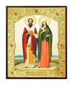 Киприан и Устинья. Икона в окладе малая (Д-22-35)