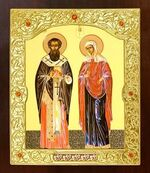 Киприан и Устинья. Икона в окладе средняя (Д-21-35)