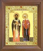 Киприан и Устинья. Икона в деревянной рамке с окладом (Д-26псо-35)