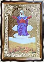 Спорительница хлебов Б.М., в фигурном киоте, с багетом. Храмовая икона 60 Х 80 см.