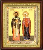 Киприан и Устинья, икона в деревянной рамке (Д-18пс-35)