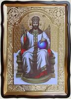 Спаситель на троне, в фигурном киоте, с багетом. Храмовая икона 60 Х 80 см.