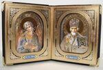 Складень в кожаном футляре (31), мягкий, малый, с 3D ликами, Ангел Хранитель, Николай Чудотворец, 22 Х 13,5 см.