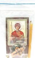 Георгий Победоносец. Святой великомученик. Набор для домашней молитвы (Zip-Lock). Лик, молитва, свечка, ладан, крестик