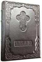 Библия в кожаном переплете с тиснением, цвет чёрный, А-4, русский язык