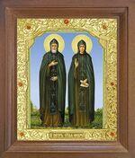 Петр и Феврония. Икона в деревянной рамке с окладом (Д-25псо-49)