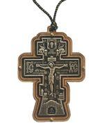 Подвеска автомобильная (118) крест фигурный JERUSALEM, керамика, на шнурке, цвет медь
