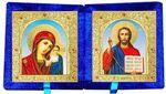 Складень бархат (Б-22-6-СГФ) цвет синий, малый, голубой фон, лик 10Х12
