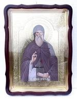 Антоний Печерский, в фигурном киоте, с багетом. Храмовая икона 60 Х 80 см.