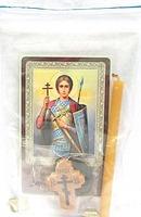 Дмитрий Солунский. Святому великомученику. Набор для домашней молитвы (Zip-Lock). Лик, молитва, свечка, ладан, крестик