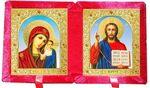 Складень бархат (Б-21-6-КГФ) цвет красный, средний, голубой фон, лик 15Х18