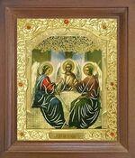 Троица. Икона в деревянной рамке с окладом (Д-25псо-60)