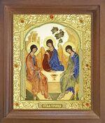 Троица. Икона в деревянной рамке с окладом (Д-25псо-62)