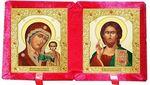 Складень бархат (Б-22-7-КВС) цвет красный, малый, византийский стиль, лик 10Х12