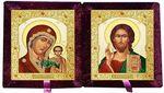 Складень бархат (Б-22-7-БВС) цвет бордовый, малый, византийский стиль, лик 10Х12