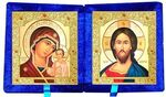 Складень бархат (Б-21-7-СВС) цвет синий, средний, византийский стиль, лик 15х18