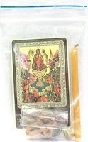 Живоносный источник Б.М.  Набор для домашней молитвы (Zip-Lock). Лик, молитва, свечка, ладан, крестик
