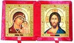 Складень бархат (Б-21-7-КВС) цвет красный, средний, византийский стиль, лик 15Х18