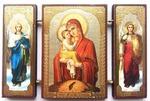 Складень МДФ (138), тройной, Почаевская Б.М. с архангелами, 13 Х 8 см.
