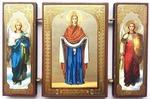 Складень МДФ (141), тройной, Покров Б.М. с архангелами, 13 Х 8 см.