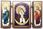Складень МДФ (143), тройной, Остробрамская Б.М. с архангелами, 13 Х 8 см.