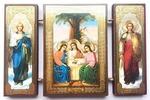 Складень МДФ (144), тройной, Троица с архангелами, 13 Х 8 см.