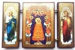 Складень МДФ (148), тройной, Прибавление ума Б.М. с архангелами, 13 Х 8 см.