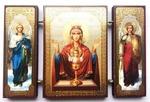 Складень МДФ (145), тройной, Неупиваемая Чаша Б.М. с архангелами, 13 Х 8 см.