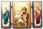 Складень МДФ (150), тройной, Петр и Феврония с архангелами, 13 Х 8 см.