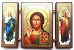 Складень МДФ (146), тройной, Спаситель с архангелами, 13 Х 8 см.