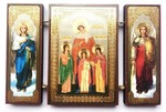 Складень МДФ (152), тройной, Вера, Надежда, Любовь, и мать их София с архангелами, 13 Х 8 см.