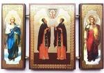 Складень МДФ (151), тройной, Петр и Феврония с архангелами, 13 Х 8 см.