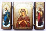 Складень МДФ (149), тройной, Семистрельная Б.М. с архангелами, 13 Х 8 см.