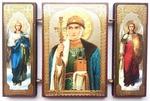 Складень МДФ (154), тройной, Ольга Св.Кн. с архангелами, 13 Х 8 см.