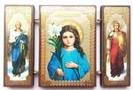 Складень МДФ (155), тройной, Трилетствующая Б.М. с архангелами, 13 Х 8 см.