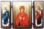 Складень МДФ (157), тройной, Анна пророчица, Св.Муч. с архангелами, 13 Х 8 см.