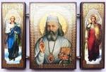 Складень МДФ (158), тройной, Лука (пояс) с архангелами, 13 Х 8 см.