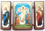 Складень МДФ (139), тройной, Ангел - Хранитель с детьми, с архангелами, 13 Х 8 см.