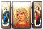 Складень МДФ (164), тройной, Ангел Златовласый с архангелами, 13 Х 8 см.