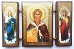 Складень МДФ (161), тройной, Илья Пророк с архангелами, 13 Х 8 см.