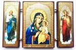 Складень МДФ (162), тройной, Неувядаемый цвет Б.М. с архангелами, 13 Х 8 см.