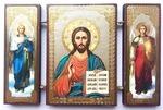 Складень МДФ (163), тройной, Спаситель с архангелами, 13 Х 8 см.