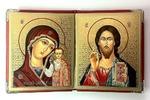 Складень в кожаном футляре (К-36-К), мягкий, малый, Казанская Б.М., Спаситель, византийский стиль, 22 Х 13,5 см. цвет красный.