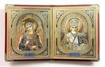 Складень в кожаном футляре (К-27-К), мягкий, малый, Ангел Хранитель, Николай Чудотворец, 22 Х 13,5 см. цвет красный.